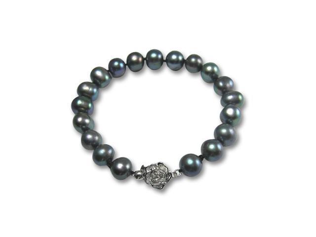 Enhanced Black 8-9mm AA Cultured Pearl Silver Rose Clasp Bracelet 7