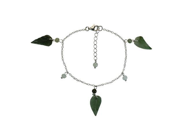 Autumn Fall Jade Leaf Sterling Silver Bracelet 6.5