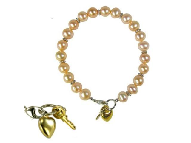 Key to My Heart Peach Pink Cultured Pearl Charm Silver Bracelet (7