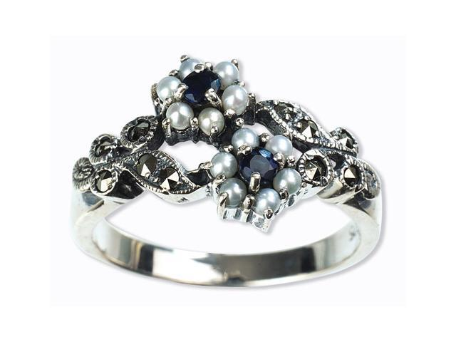 Gemini Silver Natural Seed Pearl Ring, Sapphire (Size 5)
