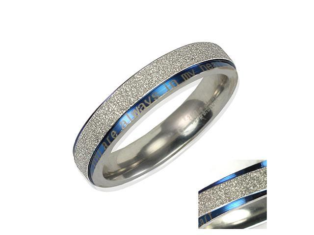 Stainless Steel Blue Sparkle You are always in my heart 4mm Band Ring Women Sz 8