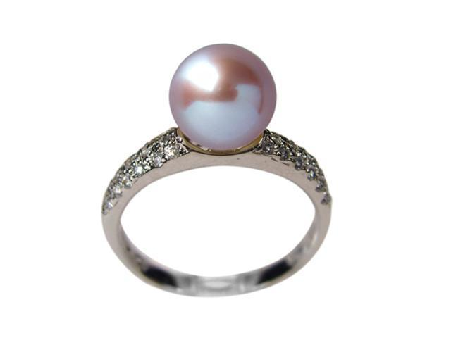 Diamond River Lavender Pearl Cubic Zirconia Platinum Overlay Silver Ring Size 7