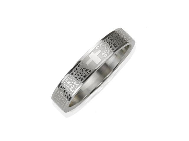 Stainless Steel Spanish Lord's Prayer 4mm Band Ring - Women (Size 8)
