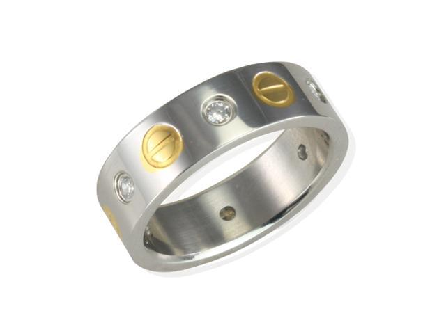 Men's Stainless Steel Cubic Zirconia Gold Screw Design 6mm Band Ring Size 9