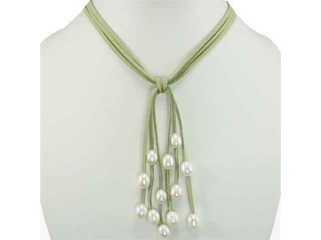 Green Triple Strand Cascading White 9-10mm Cultured Pearls Suede Necklace