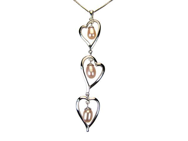 Triplet Heart Shaped Peach Pink Pearl Drop Platinum Silver Pendant Necklace 18
