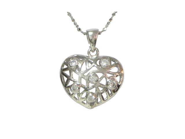 Silver Heart-Shaped Inter Vine Cubic Zirconia Platinum Overlay Necklace 18