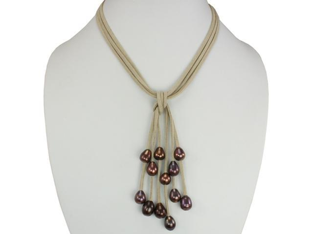 Tan Triple Strand Cascading Dyed Chocolate 9-10mm Cultured Pearls Suede Necklace