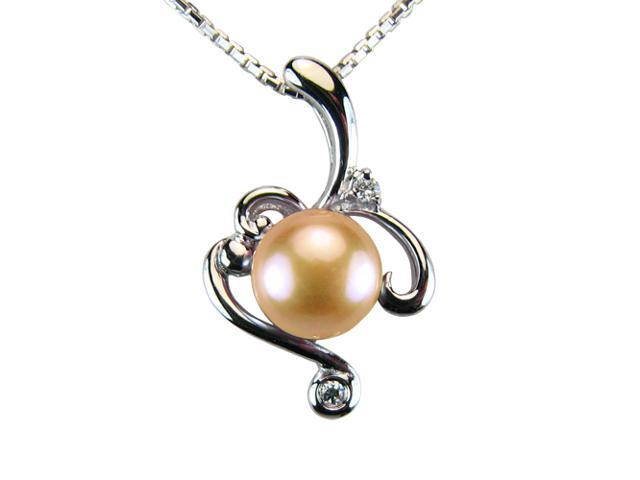 Vine Spiral Peach Pink Pearl Cubic Zirconia Platinum Silver Pendant Necklace 18