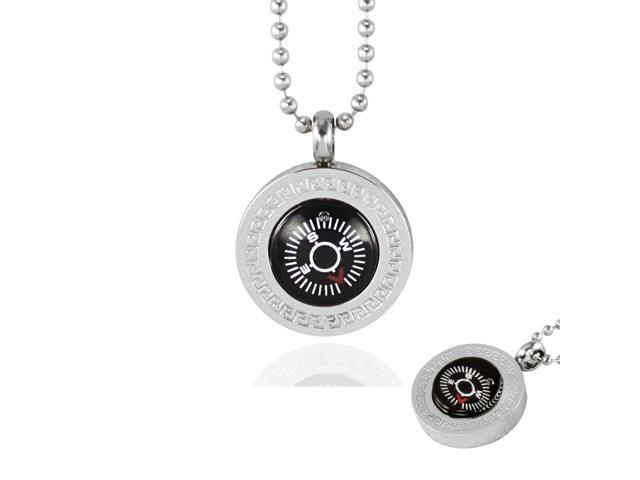 Silver Tone Large Direction of Love Compass Stainless Steel Pendant Necklace 22