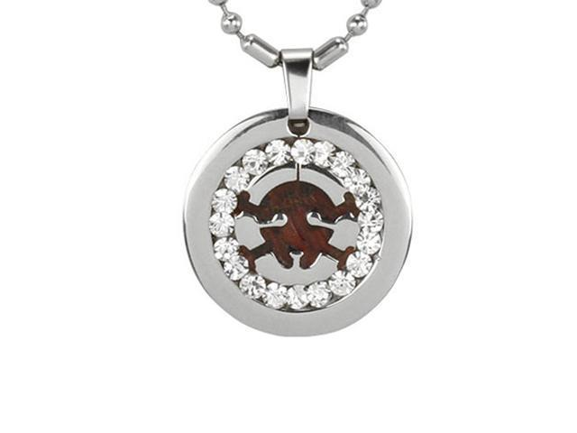 Redwood Cubic Zirconia Skull Medallion Stainless Steel Pendant Necklace 22