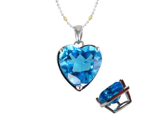 Ocean's Heart 4ct Aquamarine Cubic Zirconia Platinum Silver Pendant Necklace 16