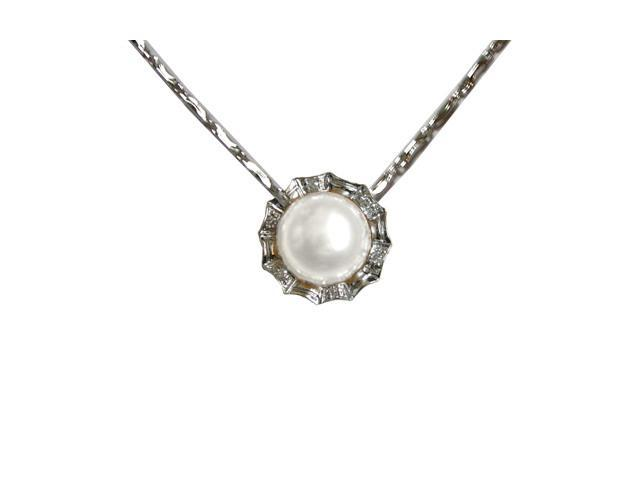 Crystal Circlet Pearl Platinum Overlay Silver Pendant Necklace, White 18