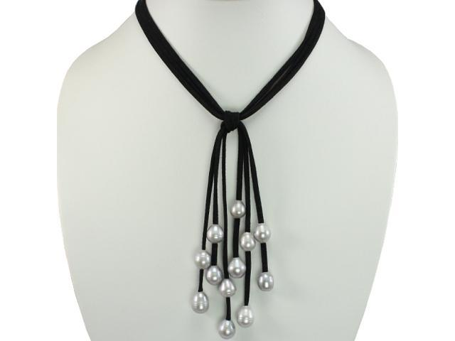 Black Triple Strand Cascading Dyed Gray 9-10mm Cultured Pearls Suede Necklace