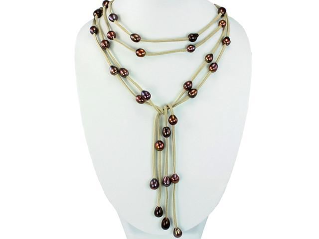 Tan Double Strand Floating Dyed Chocolate 9-10mm Pearls Suede Lariat Necklace