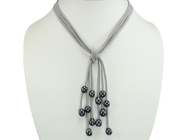 Gray Triple Strand Cascading Dyed Black 9-10mm Cultured Pearls Suede Necklace