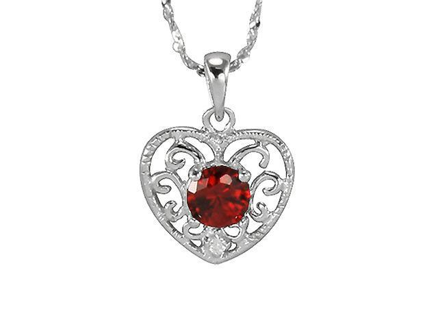 Garnet Cubic Zirconia 0.5ct Filigree Heart Platinum Silver Pendant Necklace 18