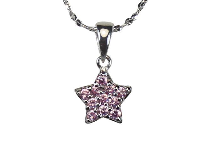 Pink Cubic Zirconia Pave Star Platinum Overlay Silver Pendant Necklace 16