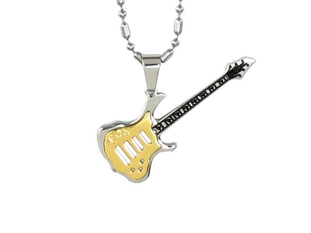 """Stainless Steel Gold Guitar Pendant Necklace 24"""""""
