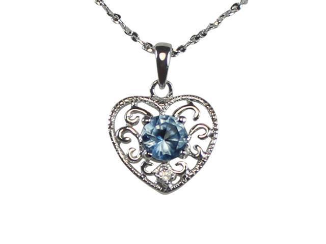Aquamarine Cubic Zirconia 0.5 Filigree Heart Platinum Silver Necklace 18