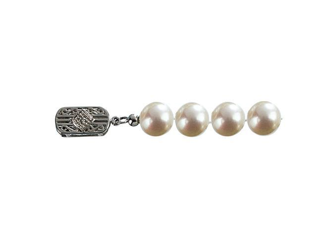 Classic White 7.5-8mm AS1R1 Cultured Pearl 14k Gold Diamond Clasp Necklace 18
