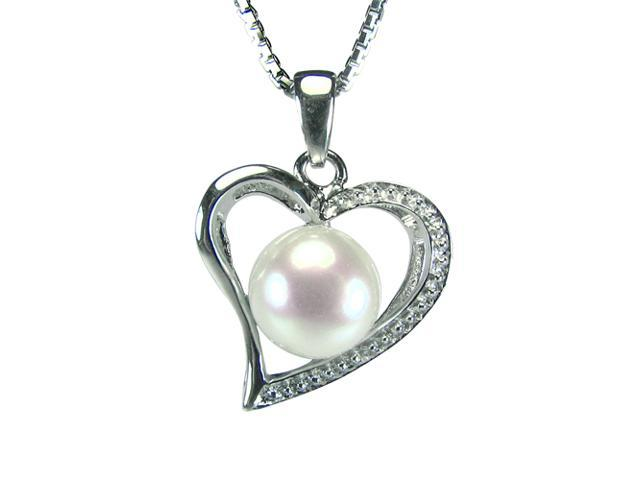 Cursive Heart-Shaped Pearl Platinum Overlay Silver Pendant Necklace 16