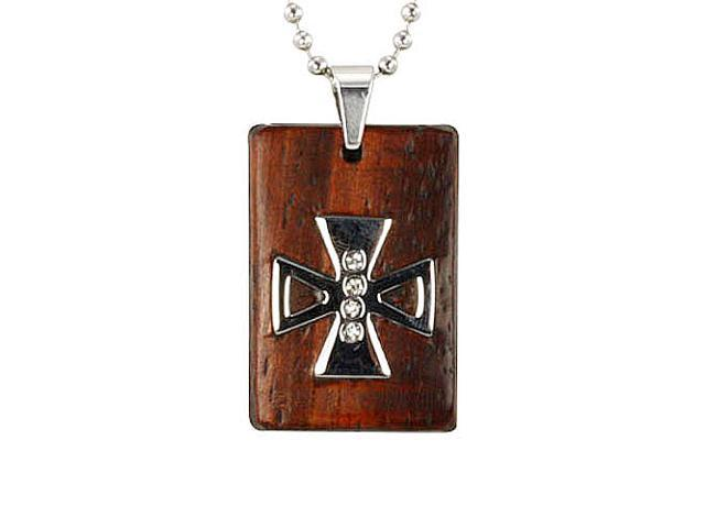 Redwood Cubic Zirconia Iron Cross Rect Stainless Steel Pendant Necklace 22