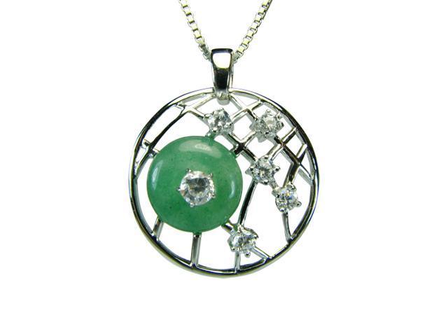 Circle Jade Diamond Cubic Zirconia Platinum Silver Round Pendant Necklace 18