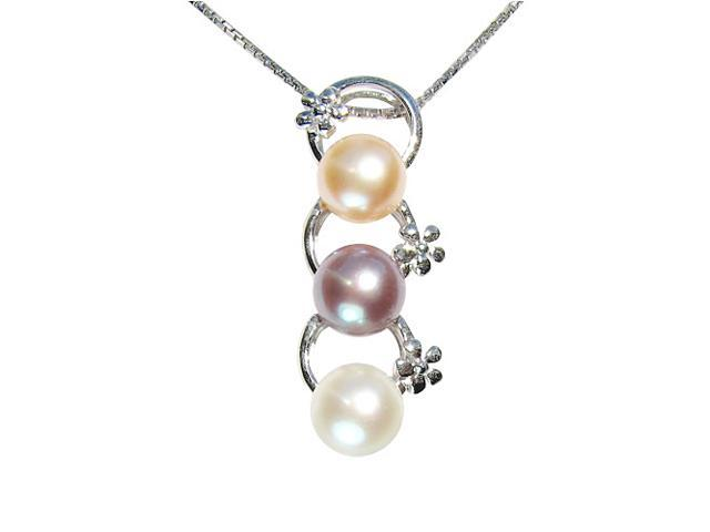 Tri-Color Pearl Floret Rings Platinum Overlay Silver Pendant Necklace 18