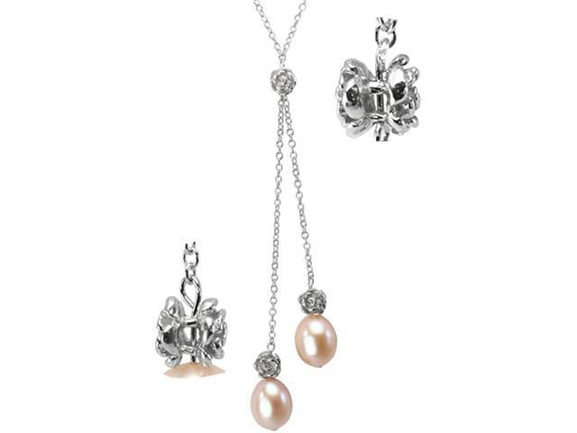 Isabella Silver Rose 9-10mm Cultured Pearl Drops Lariat Necklace, Peach Pink