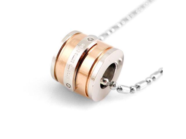 Dreams Come True Gold Tone Barrel Stainless Steel Pendant Necklace 20
