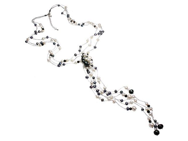 Floating Dyed Black and White Cultured Pearl Crystal Waterfall Necklace