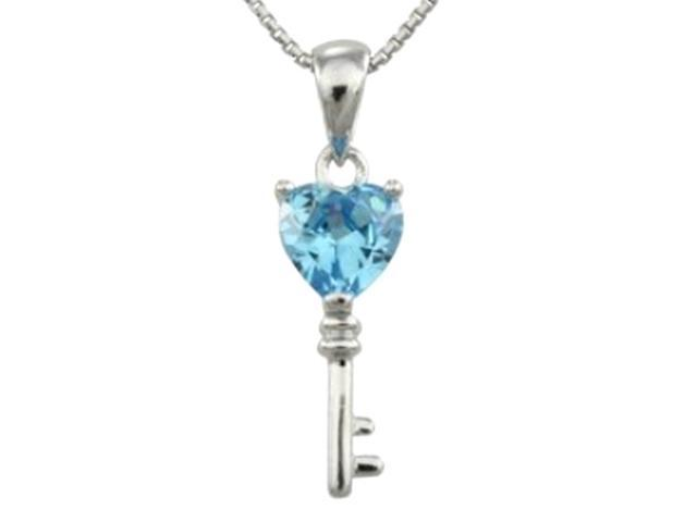 Aquamarine Cubic Zirconia 3.6ct Heart Key Platinum Silver Pendant Necklace 18