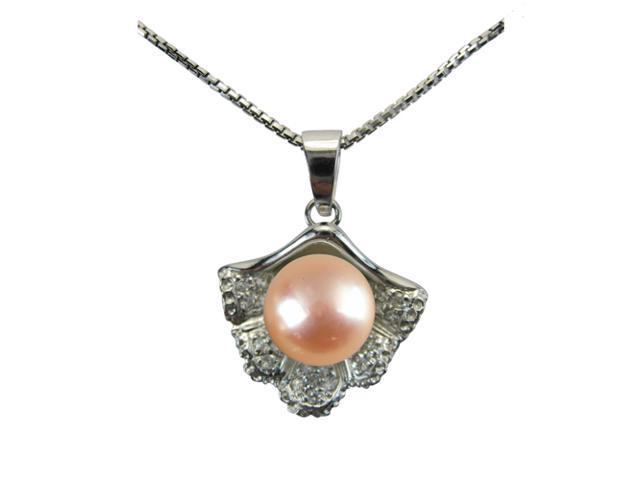 Sea Treasure Pearl Platinum Overlay Silver Pendant Necklace, Peach Pink 18