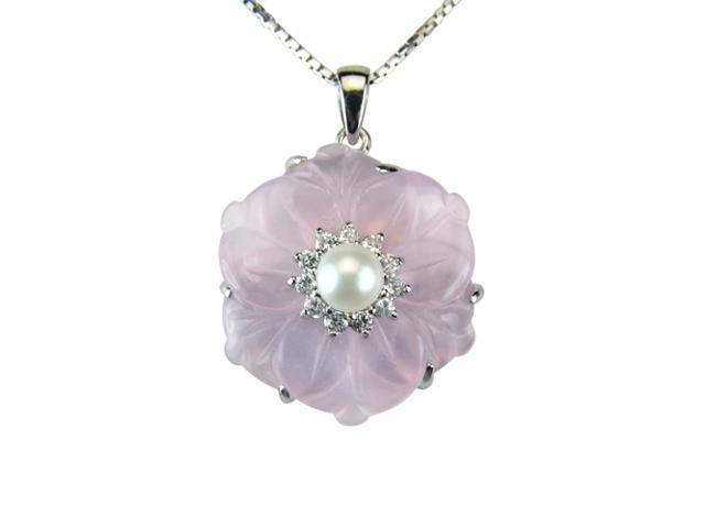 Rose Quartz Cubic Zirconia Flower Pearl Platinum Silver Pendant Necklace 16