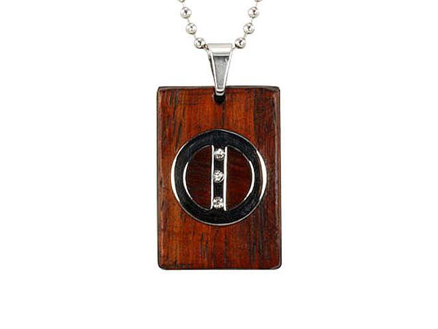 Redwood Cubic Zirconia Circle Line Rect Stainless Steel Pendant Necklace 20
