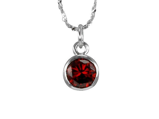 Garnet Cubic Zirconia 1ct 6.5mm Solitaire Bezel Silver Pendant Necklace 16