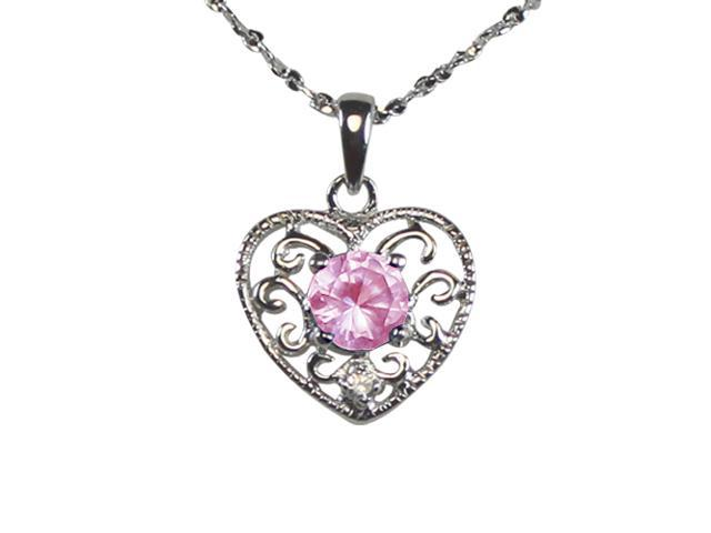 Pink Cubic Zirconia 0.5ct Filigree Heart Platinum Silver Pendant Necklace 18