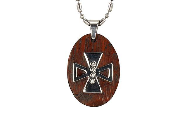 Redwood Cubic Zirconia Iron Cross Oval Stainless Steel Pendant Necklace 24