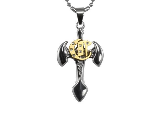 Cubic Zirconia Gold Tone Center Cross Axe Stainless Steel Pendant Necklace 16