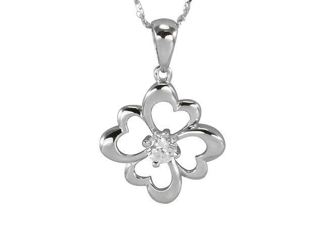 Four Leaf Clover Cubic Zirconia Lucky Charm Platinum Silver Pendant Necklace 16
