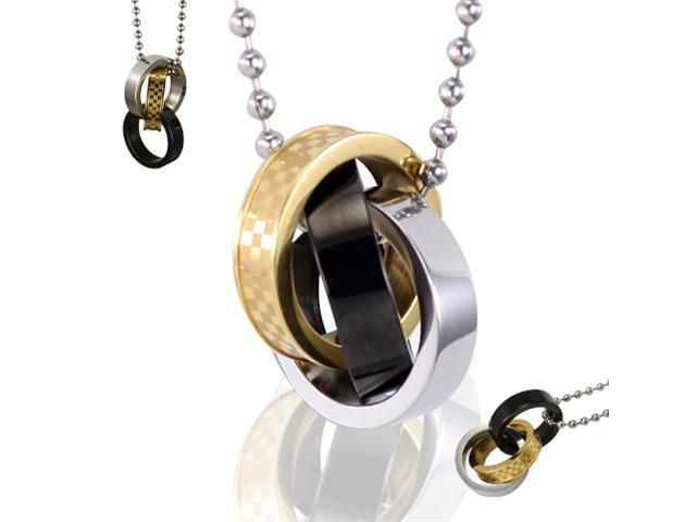 Eternal Interlock Triple Colors Black Rings Stainless Steel Pendant Necklace 24