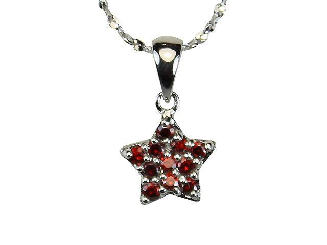 Garnet Cubic Zirconia Pave Star Platinum Overlay Silver Pendant Necklace 16
