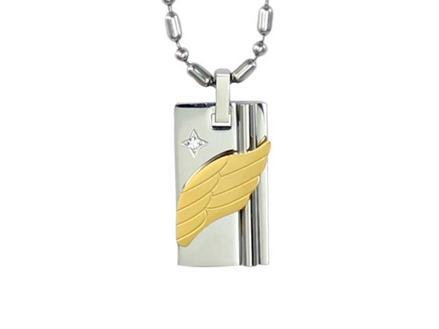 Wing of Love Cubic Zirconia Gold Angel Wing Stainless Steel Pendant Necklace 22