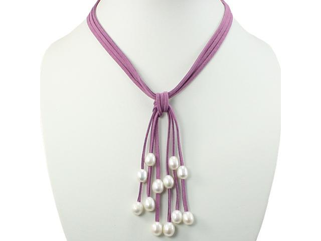 Purple Triple Strand Cascading White 9-10mm Cultured Pearls Suede Necklace