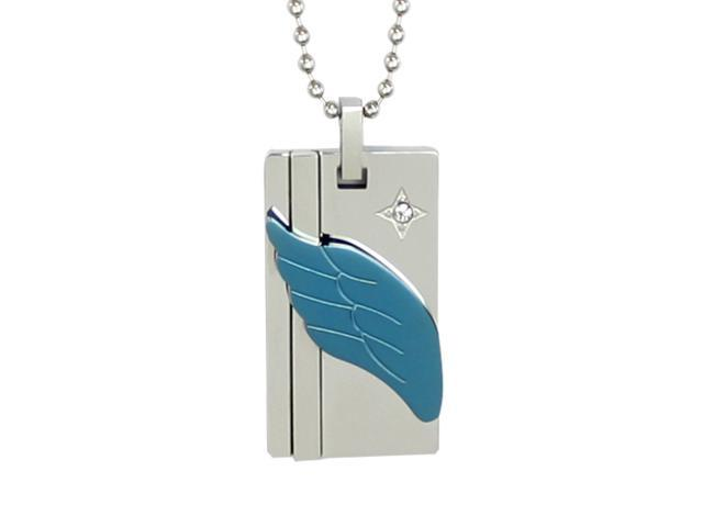 Wing of Love Cubic Zirconia Blue Angel Wing Stainless Steel Pendant Necklace 16