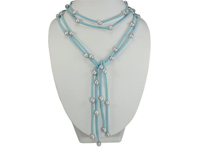 Blue Double Strand Floating Dyed Gray 9-10mm Pearls Suede Lariat Necklace