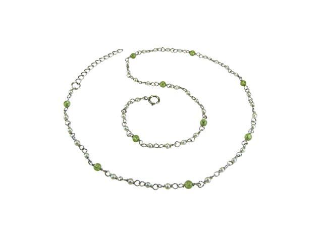 Dainty White Seed Pearl & Peridot Platinum Overlay Silver Necklace 20