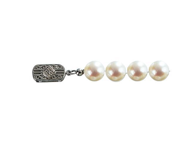 Classic White 7.5-8mm AS2R2 Cultured Pearl 14k Gold Diamond Clasp Necklace 18