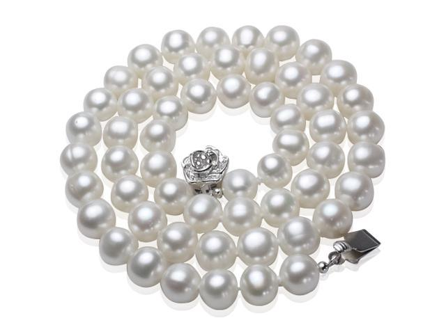 White 7-8mm AAA Cultured Pearl Strand Silver Princess Necklace 18